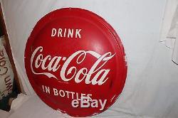 Large Vintage 1954 Drink Coca Cola Bottles Button Soda Pop 36 Curved Metal Sign