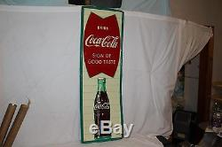 Large Vintage 1960 Coca Cola Fishtail Soda Pop Bottle 54 Metal Sign
