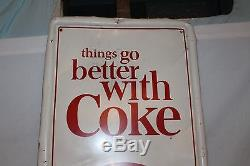Large Vintage 1960's Coca Cola Coke Soda Pop Bottle Gas Station 54 Metal Sign