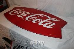Large Vintage 1962 Coca Cola Fishtail Soda Pop Gas Station 43 Metal Sign