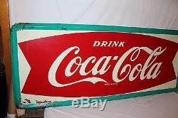Large Vintage 1964 Coca Cola Fishtail Soda Pop Bottle 59 Metal Sign