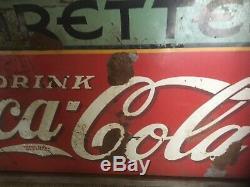 Large Vintage Coca Cola Cigarettes Advertising Metal Sign