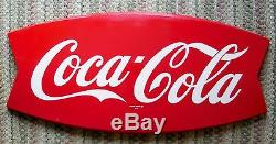 Large Vintage Coca Cola Fishtail Soda Pop Gas Station 42 Metal SignNice AM 34