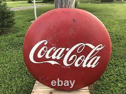 Large Vintage Coca Cola Soda Pop Gas Oil 36 Metal Button Sign