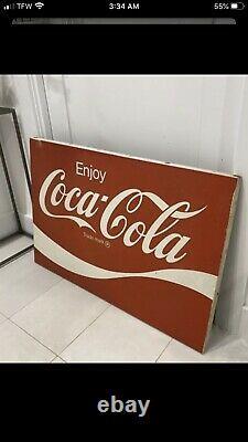Large Vintage Coca Cola metal sign. Drink Coca-Cola 36x24 slogan Rare Mint