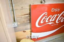 Large Vintage Metal Coca Cola Sign 66 x 44 Antique Coke Memorabilia