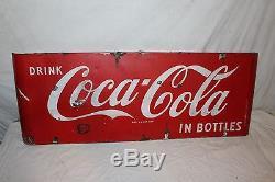 Large Vintage c. 1950 Coca Cola In Bottles Soda Pop 44 Porcelain Metal Sled Sign