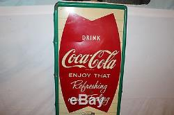 Large Vintage c. 1960 Coca Cola Fishtail Soda Pop Bottle 54 Metal Sign