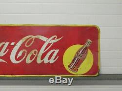 Large original Coca Cola metal sign with yellow Spot moon Coke Drink 57x17.5