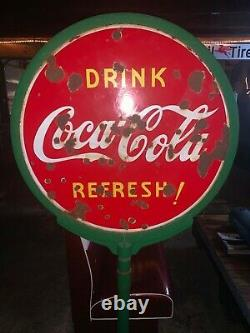 Lollipop coke sign double sided porcelain with base original