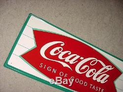 NEAR MINT 1966 Vintage COCA COLA FISHTAIL & BOTTLE Old Original Tin Sign