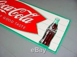 NEAR MINT 1966 Vintage COCA COLA FISHTAIL Old Original 32x10 inch Tin Sign