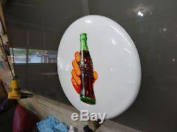 NICE 16 INCH COCA COLA BUTTON SODA SIGN NOT PORCELAIN 1950s OR 60s