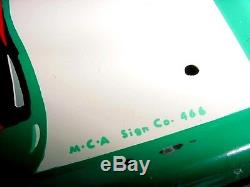 NOS NEAR MINT 1966 Vintage COCA COLA FISHTAIL & BOTTLE Old Original Tin Sign