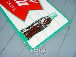 NOS NEAR MINT 1966 Vintage COCA COLA FISHTAIL Old Original 32x10 inch Tin Sign