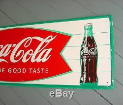 NOS NEAR MINT 1966 Vintage COCA COLA FISHTAIL Old Original 32x10 inch Tin Sign