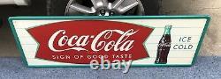 NOS Original Coca Cola Bottle Fishtail Tin Sign 17-1/2X 53-1/2 Not Porcelain