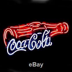 New Coca Cola Coke Bottle Real Glass Handmade Neon Sign 17x8