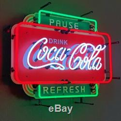 New Ice Cold Coca Cola Pause and Refresh neon sign Coke Soda fountain Lamp light