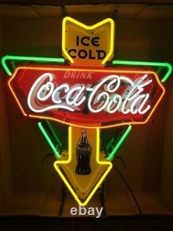 New Ice Cold Drink Coca Cola Neon Sign 20x16 Bar Lamp Lighting Glass Decor