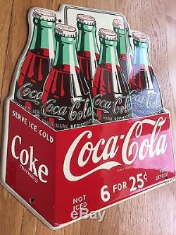New Old Stock Coca Cola Die Cut Six Pack Sign