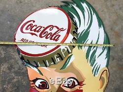 OLD COCA COLA SPRITE BOY LARGE HEAVY PORCELAIN SIGN, 39x 30 RARE, GREAT COND