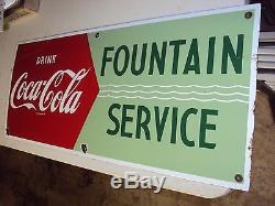 OLD Coca Cola Porcelain Arrow Sign