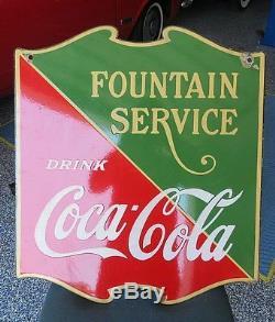 OLD Coca Cola Porcelain Fountain Service 1933 Sign