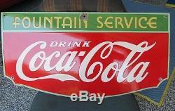 OLD Coca Cola Porcelain Fountain Service 1934 Sign