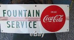 OLD Coca Cola Porcelain Red Dot Sign