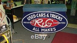 OLD Ford Renewed and guaranteed used car porcelain neon sign from 1930's R&G