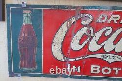 ORIGINAL 1916 COCA COLA METAL TIN SIGN 1920's 1915 BOTTLE ERROR