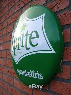 ORIGINAL 1950'-60s SPRITE (Coca Cola) VINTAGE PORCELAIN ENAMEL BUTTON SIGN COKE