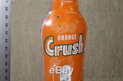 ORIGINAL 1950's ORANGE CRUSH BOTTLE SODA POP METAL THERMOMETER SIGN COKE