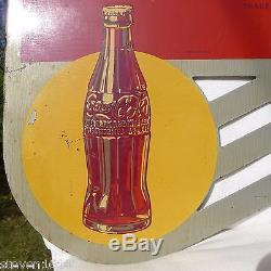ORIGINAL Vintage (1940) COCA COLA Double-Sided Metal FLANGE SIGN