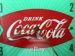 ORIGINAL vintage COCA-COLA FISHTAIL PAM WALL CLOCK 50s SODA- SIGN