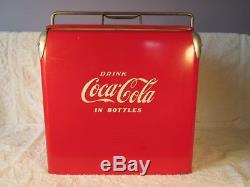 OUTSTANDING VINTAGE 1950's COCA COLA SODA POP ACTON PICNIC COOLER EMBROSSED SIGN