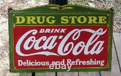 Old Antique Porcelain Drug Store COCA COLA Sign 18 x 27