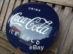 Old COCA COLA porcelain sign 16 heavy convex rar ice cold shop coke advertising
