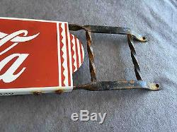 Old Coca-Cola Porcelain & Wrought Iron Advertising Store Door Push Sign Soda