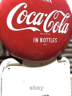 Old & Original Coca-Cola 40 x 16 Pilaster Sign WITH 16 BUTTON