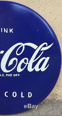 Old Vintage 1950's Original Coca Cola Porcelain Blue Button Enamel Sign 24inch