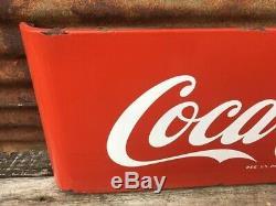 Old Vintage Metal Coke Sign 1950's COCA COLA Sled Sleigh Porcelain Soda Sign