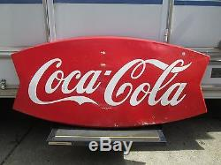 Old and Original Coca Cola Sign, Neat Old Coke Fishtail Sign