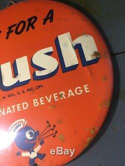 Orange Crush 9 Inch Celluloid Button Sign Crushy Not Coca-Cola Or Pepsi