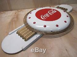 Orig 1940s Art Deco Coca-Cola Promo Clock Sign tin masonite Kay Inc prop of coke
