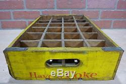 Orig Old DRINK COCA-COLA Wooden Case Box Yellow Red Coke Soda Adv Sign 24 Crate