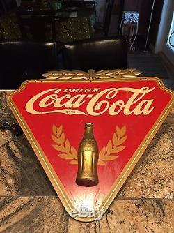 Original 1930's Coca Cola Wood Triangle Advertising Sign By Kay Displays