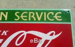 Original 1930's Drink Coca Cola Fountain Service Porcelain Sign Coke