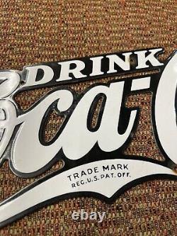 Original 1930s Drink Coca Cola Porcelain Diecut Script Sign Vtg Old